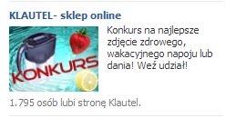 Kolejna reklama na Facebook u przygotowana do konkursu Klautel.