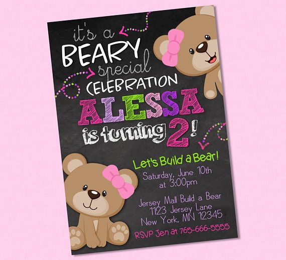 105 best birthday invites images on pinterest build a bear sweet girly teddy bear chalkboard birthday invitation pink filmwisefo