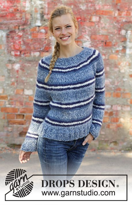 3a2d9b3f6 Denim Crush - Knitted jumper with round yoke in 2 strands DROPS Air. The  piece is worked top down with stripes. Sizes S - XXXL. Free knitted pattern  DROPS ...