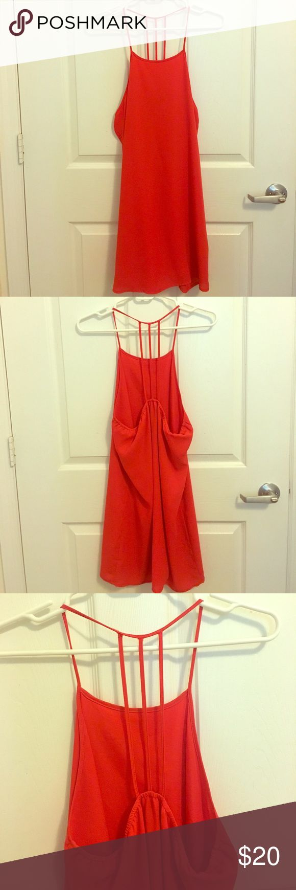 Red mini dress with back detail Red mini dress with strap details. Very good condition. Forever 21 Dresses Mini