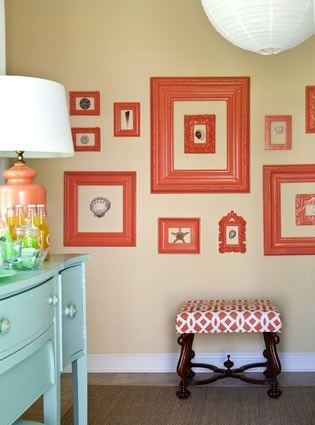 love the bright frames: Colors Combos, Coral, Idea, Paintings Frames, Empty Frames, Galleries Wall, Colors Schemes, Guest Rooms, Pictures Frames