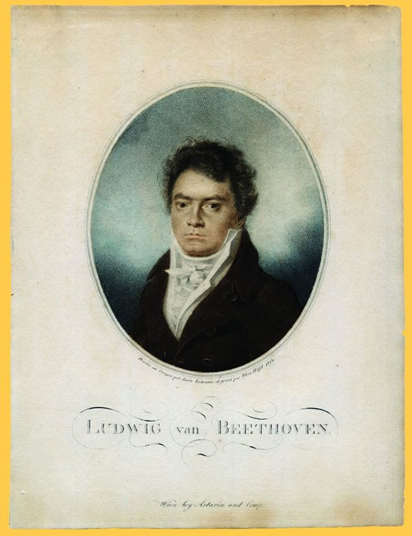 Hand Colored Copperplate Engraving Of Beethoven By Blasius