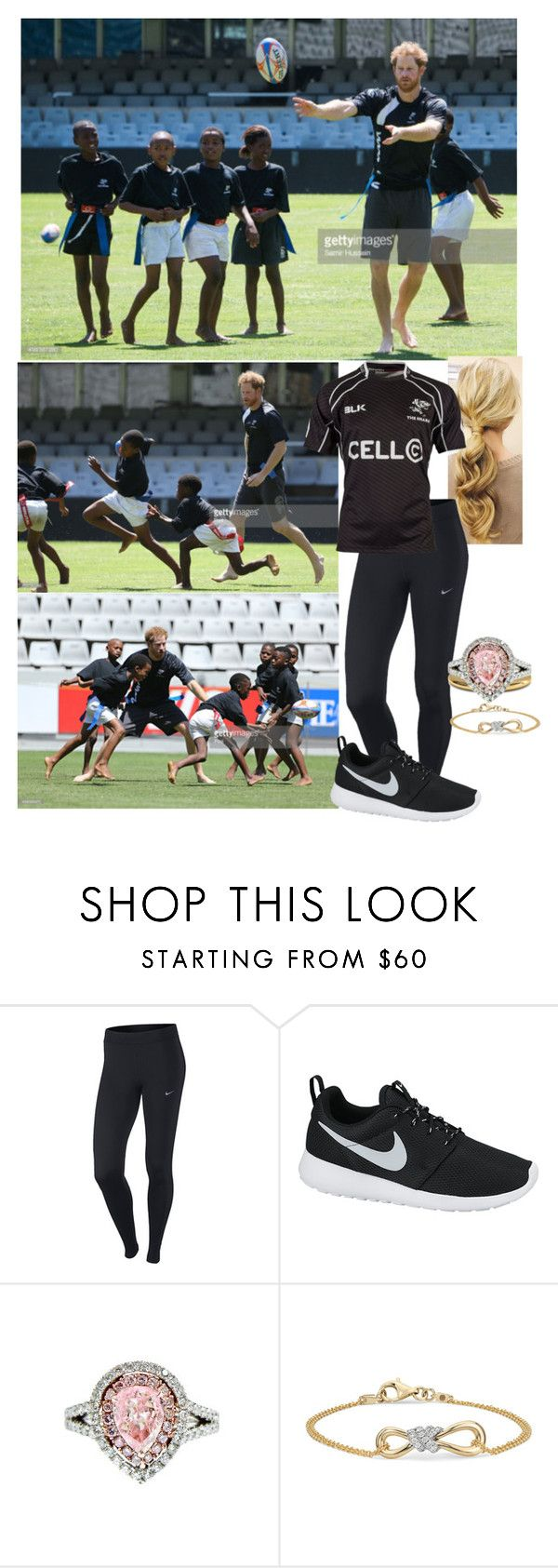 """""""Tour of South Africa(day 2): Visiting the King's Park Stadium and playing a game of tag rugby with the children"""" by duchess-rebecca ❤ liked on Polyvore featuring NIKE and Diana M. Jewels"""