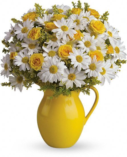 Flowers in a pitcher for an easy centerpiece. Assorted Mint/peach/white pitchers with peach/white/mint flowers?!