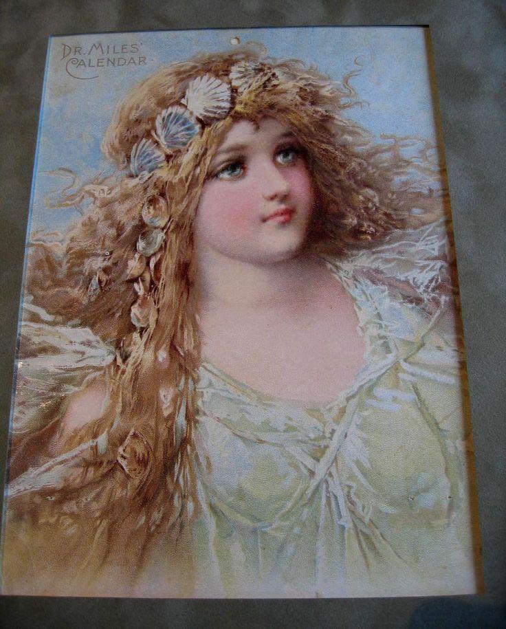 c1890s Frances Brundage Mermaid Girl Lady Sea Shell Chromolithograph Print Ocean Antique Victorian