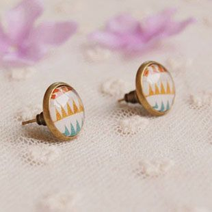 Vintage Jewelry Geometric Glass Cabochon Post Earrings for Kids Women Girls Christmas Gift Alloy Antique Bronzed Studs 12mm rd03