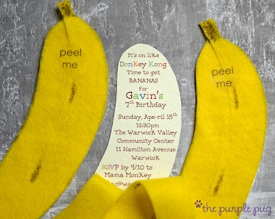 Donkey Kong Party Invites...they are even banana scented!  What will the Purple Pug do next??