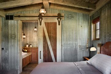 Rustic decor and repurposed elements are hot in 2014 western decorating. Rustic bedroom by Roger Wade Studio. | Stylish Western Home Decorating: