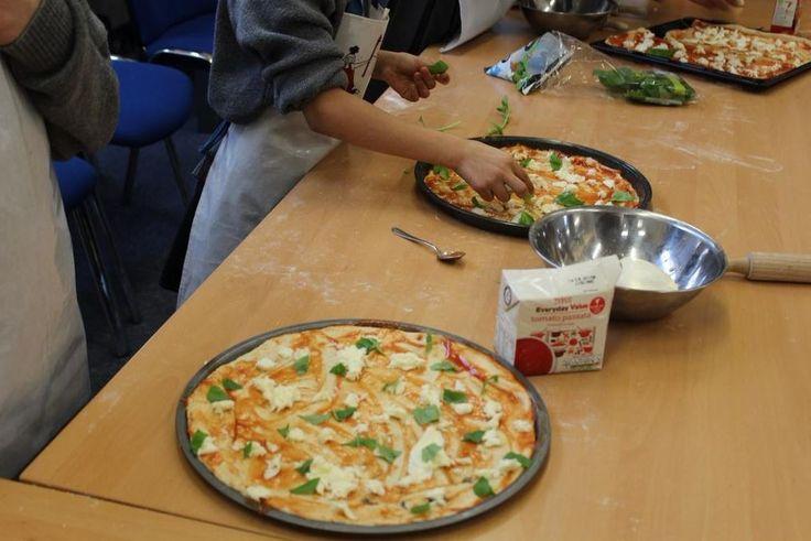 Rainbow pizza making workshop.