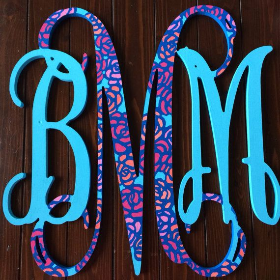 18 Inch Hand Painted Lilly Pulitzer Wooden Monogram