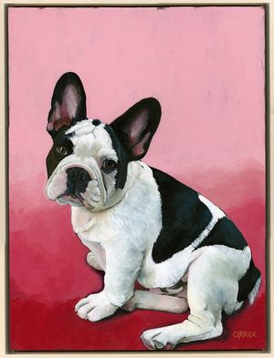 """French Bulldog titled """"Frenchie"""".  Original acrylic painting by Angie Carrier"""