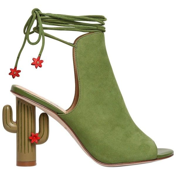 Katy Perry Women 100mm Saguaro Cactus Suede Sandals ($270) ❤ liked on Polyvore featuring shoes, sandals, green, green high heel shoes, leather sole sandals, green sandals, green high heel sandals and high heeled footwear