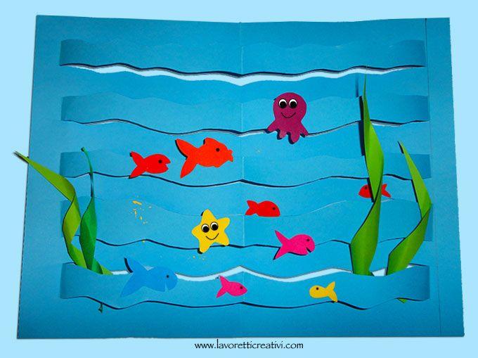 Lavoretto con mare e pesci di carta. Procuratevi il materiale e provate subito a creare questo coloratissimo lavoretto: Vediamo ora nel dettaglio il materi