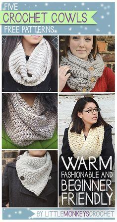 Click here for 5 Free Cowl Crochet Patterns   by Little Monkeys Crochet