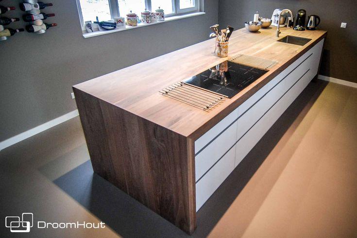 Houten keukenblad   Ikea kasten   keukenblad   #ikeakeuken #werkblad #hout