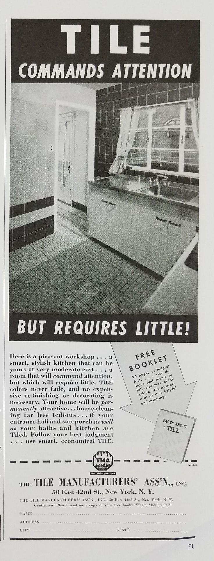 Best 25 tile manufacturers ideas on pinterest floor decor and 1940 tile manufacturers association vintage ad kitchen dailygadgetfo Image collections