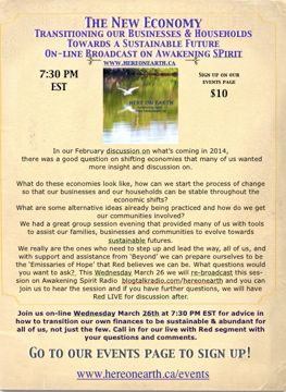 An Invitation to our Radio Show on The New Economy, Transitioning to sustainability sign up @ www.hereonearth.ca/events