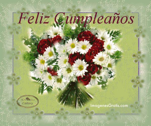 Feliz Cumpleaños imagen #7273 - Feliz Cumpleaños Tags: Brillos, Flores, Margaritas, Ramo, Rosas.