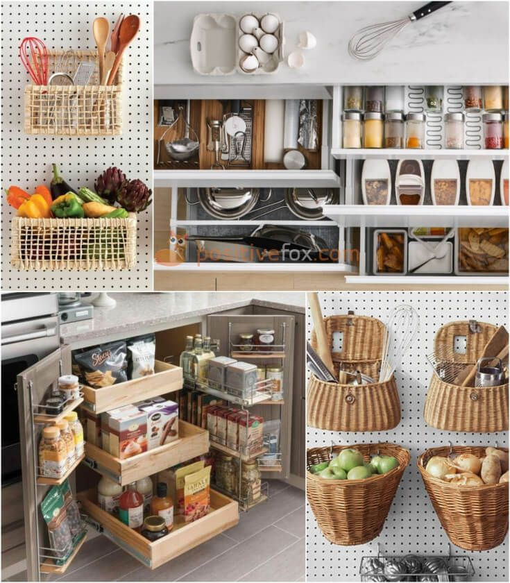Kitchen Storage Ideas. Home Storage Ideas. Explore more Kitchen Storage Ideas on https://positivefox.com #kitchenstorageideas #homestorageideas #homeideas #kitchenideas #interiordesign #kitchen #diy