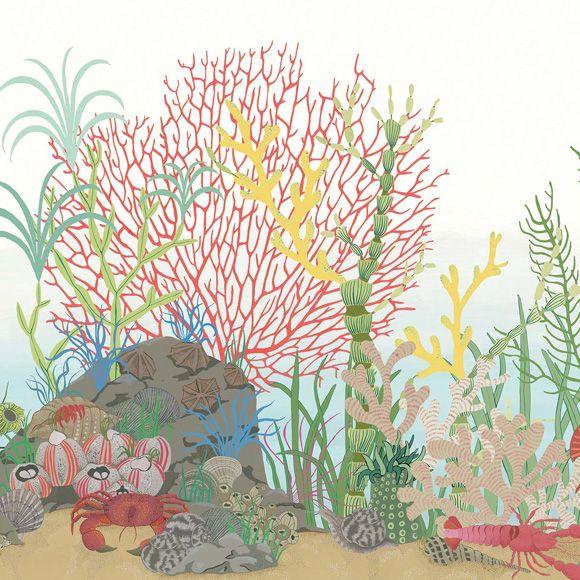 """Cimaise Bois Leroy Merlin : Papier peint """"Archipelago Border"""" via http://www.aufildescouleurs.com"""