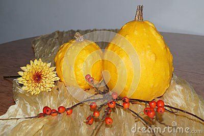 Yellow pumpkins and red berries
