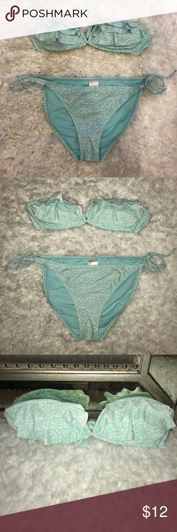 Teal Tube Top Bikini Gently worn. Very summery and cute two piece bikini. Tube top can be strapped around neck. Xhilaration Swim Bikinis