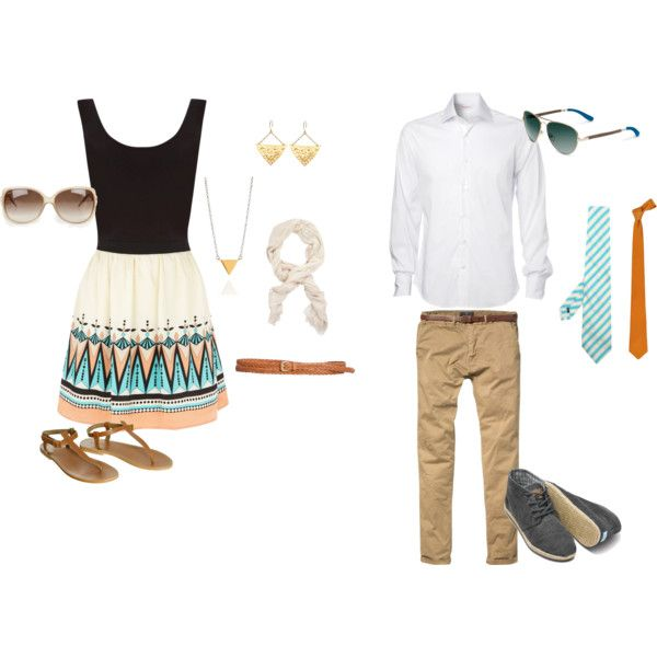 Tribal/Boho Couple Engagement Outfits  - For the girl who loves tribal.    For her: Find a great print & accessorize with softer pieces. Incorporate some geometry into your jewellery. Finish the look with a braided leather belt & some sandals to match.   For him: Keep him on the simpler side, so the two of you don't clash. A white dress shirt with rolled up sleeves and a loose skinny tie will look great with a pair of khaki shorts or chinos. Finish the look with grey or brown botas.