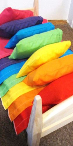Rainbow colors od sheets and pillows