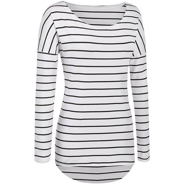 POGTMM Long Sleeve Striped T Shirt Tunic Tops for Leggings for Women ($14) ❤ liked on Polyvore featuring tops, long sleeve tops, white knit top, stripe top, long sleeve knit tops and white long sleeve top