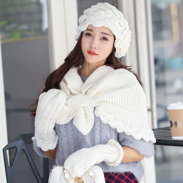 Новый женский шарф шляпа комплект шарф вязаный CapFemale костюмы шляпы шарфы перчатки шляпа платки подарок подарок на день рождения толстые корейской волны купить на AliExpress