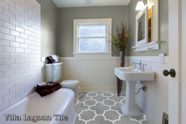 "Piazza tile depicted on a bathroom floor. This is a 2-color 8"" cement tile, using Oxford Gray and White from the Monterey Palette.  $6.24/tile (if under 200 s.f. order)"
