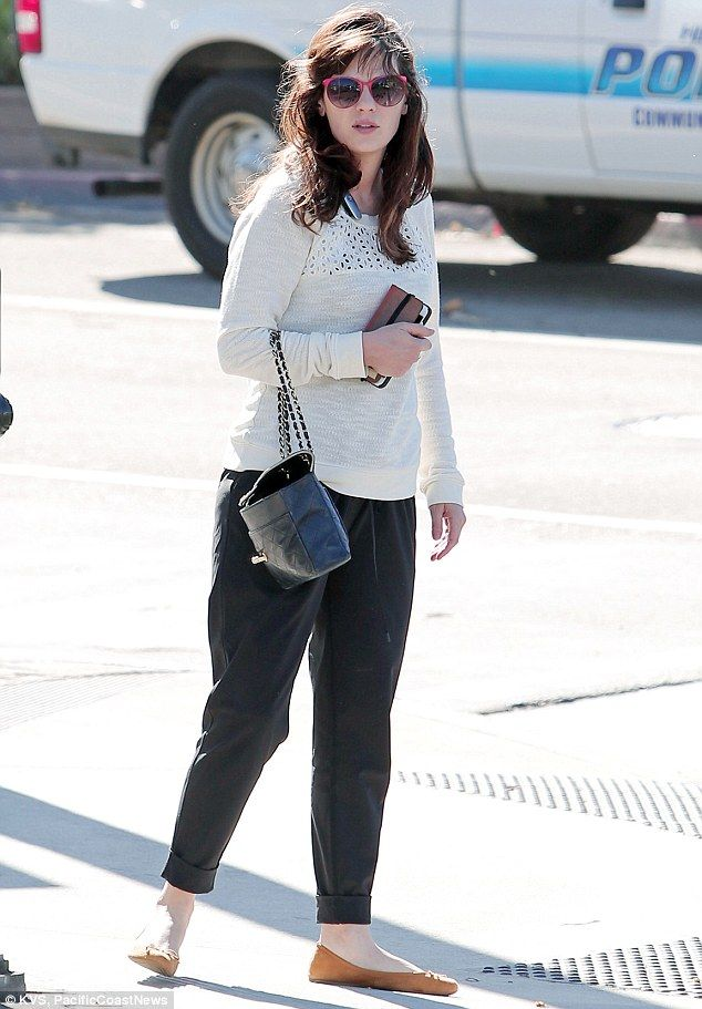 Slim pickings: Zooey Deschanel showed off her flawless post-pregnancy body in Los Angeles on Sunday