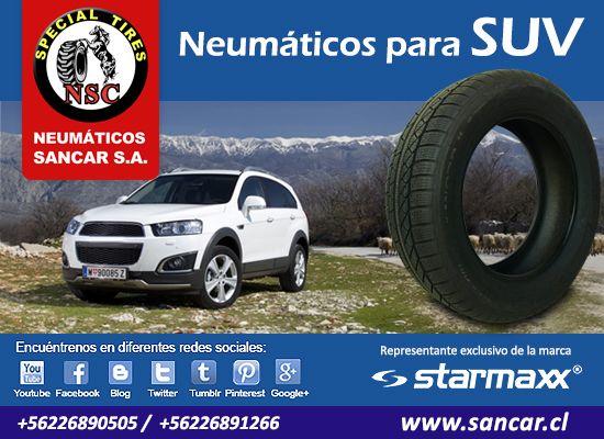 Neumáticos para SUV Todos los neumáticos en un solo lugar, todas las medidas, las mejores marcas.  Visítenos: www.sancar.cl – ventas@sancar.cl - Antillanca 560 módulo 5 Lo Boza Pudahuel - Teléfono +56226890505 | Bascuñán Guerrero 540 Santiago - Teléfono +56226891266