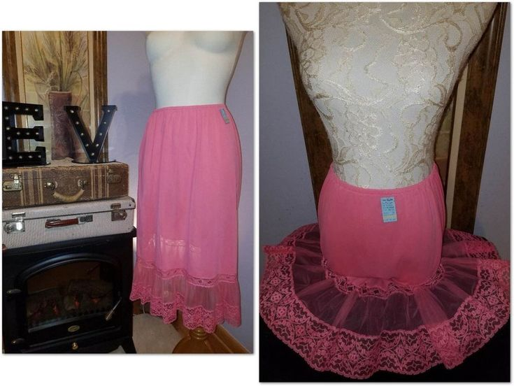 VAN RAALTE Opaquelon Half Slip Skirt Pink Lace Nylon Chiffon Vtg NEW Lg RARE NOS #VanRaalte #HalfSlips