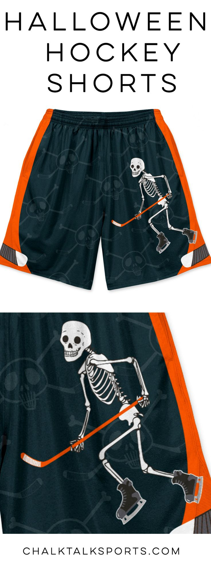 Limited Edition Hockey Halloween Shorts! Our Mr Bones Hockey shorts feature our hockey player skeleton design on the front left leg, a skull and crossed hockey sticks throughout and hockey sticks down the side. Each pair of hockey shorts are designed with double layered moisture-wicking material and side pockets.