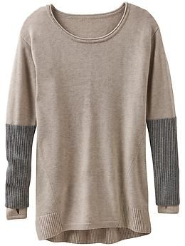 Merino Nopa Sweater - The Merino wool scoop neck sweater in a tunic length with thumbholes to give you added warmth and coverage.
