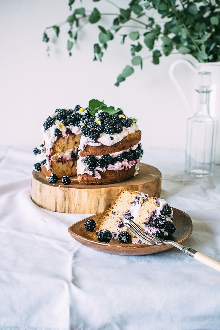 Hazelnut Blackberry Cake with Mascarpone Cream via Artful Desperado