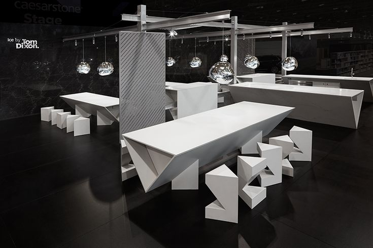 tom dixon sculpts ICE kitchen installation for caesarstone at IDS toronto