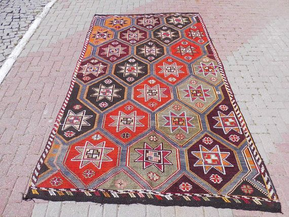 Goat Hair Wool Kilim Rug Area Rug 8x10 turkish rug kelim