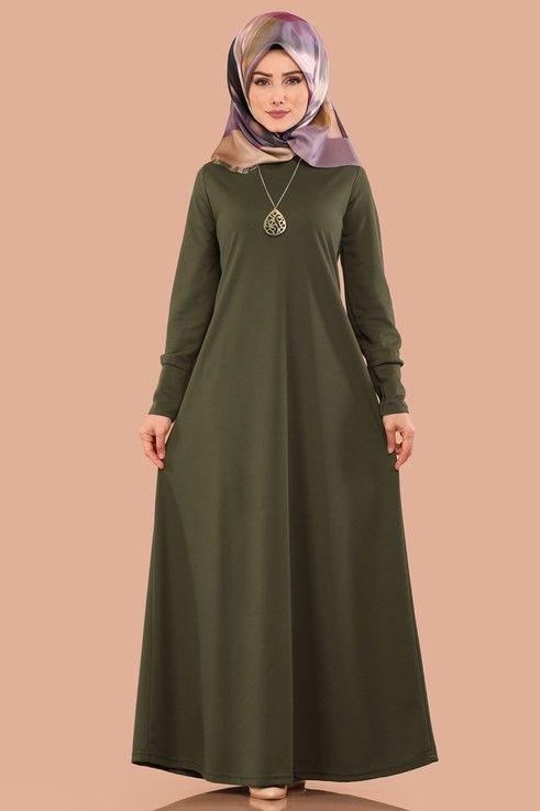 Elbise Kolyeli Boydan Tesettur Elbise Edf4107 Haki Elbiseler Elbise Modelleri Elbise