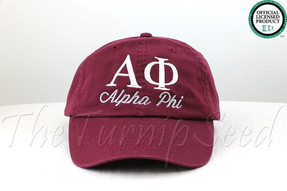 **Maroon Color Hat shown in Photos**    Ladies Alpha Phi Sorority Baseball Cap with Greek Letters and the Name Spelled Out Underneath. You can pick