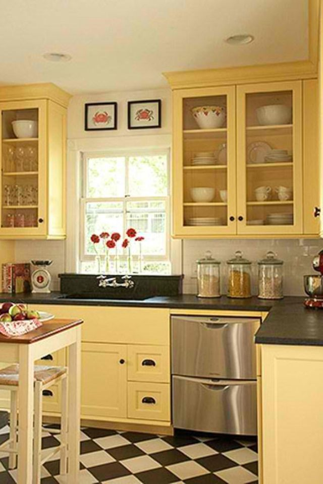 Drawers on sides of below sink better use of space love for Blue kitchen cabinets with yellow walls