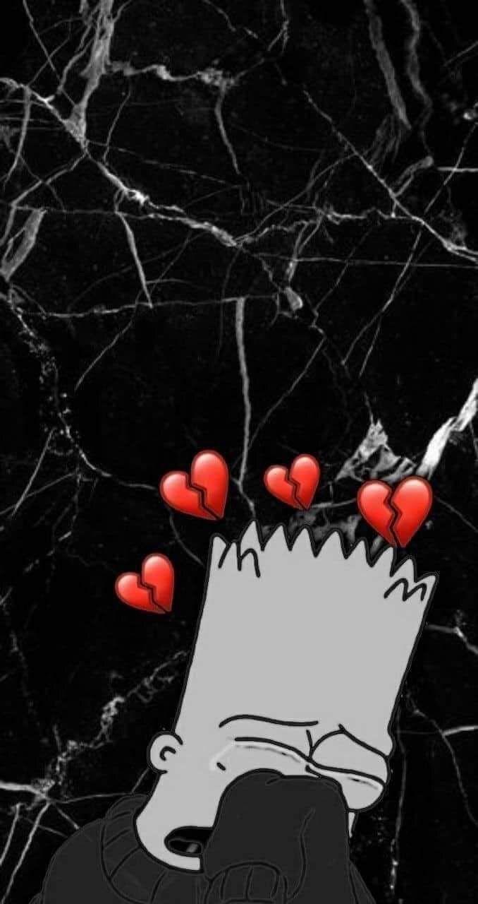 Pin On Wallpaper Broken heart bart simpson sad wallpaper