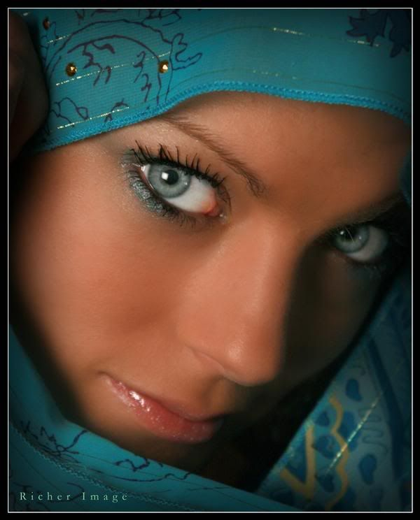 Turquoise Scarf and beautiful EYES