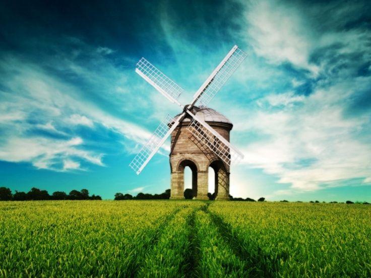 Windmill Sky & Grass Field HD Desktop Wallpaper