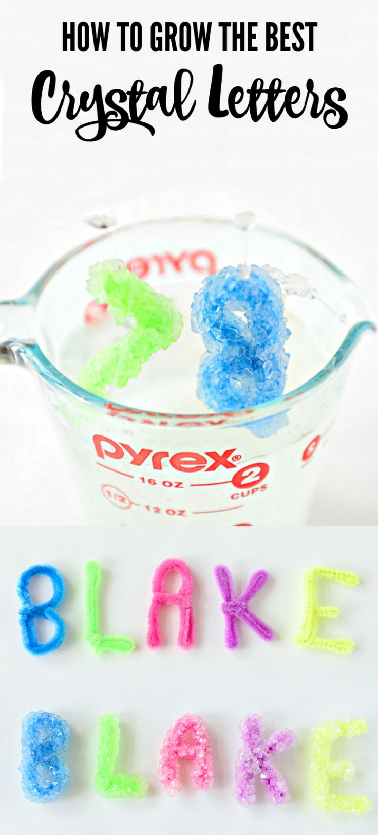 These crystals are AWESOME!  Step by step instructions to make the cutest crystal letters. Perfect for weekend fun with the kids!    Borax crystal letters - how to grow borax crystal letters - how to make the best crystal letters - how to grow crystal let