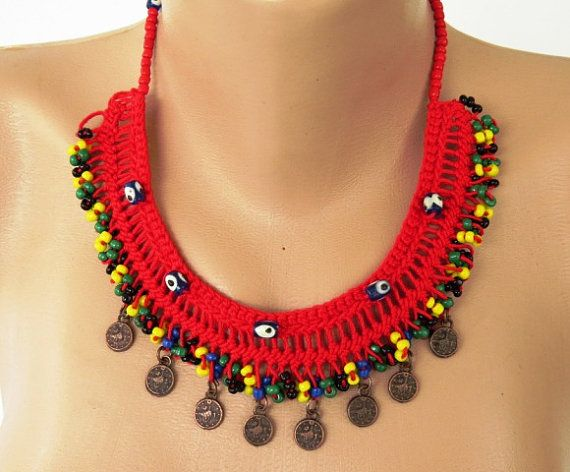 Bright Red Macrame Choker Necklace with Evil Eye Acrylic Beads and Yellow -  Black - Green - Dark Blue Seed Beads, brown coins on the edge