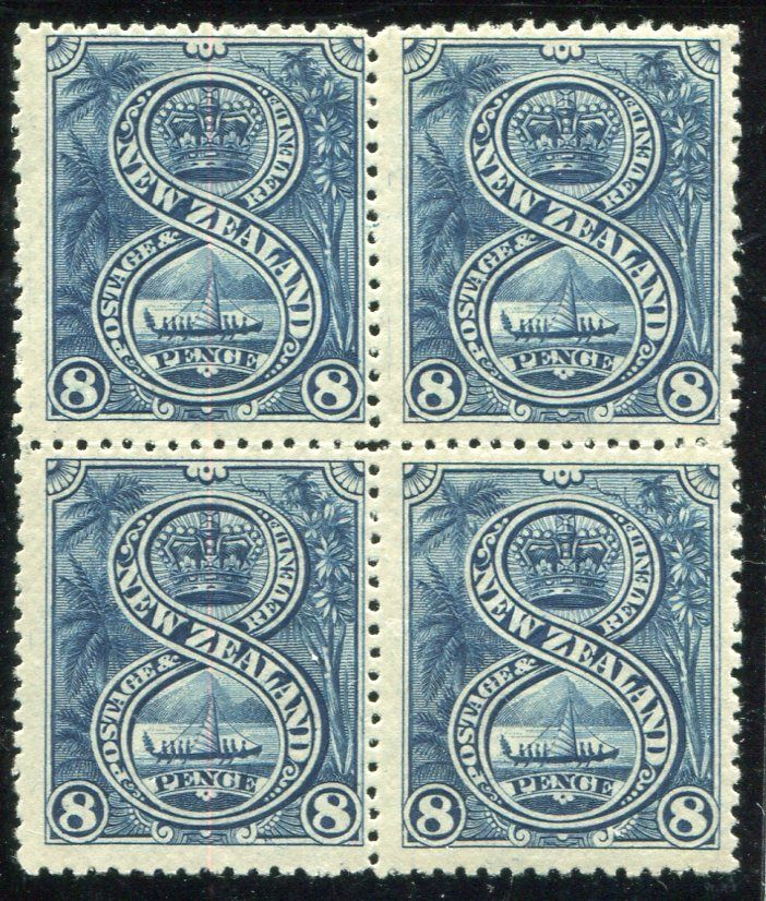 Stamps #326982 NZ 1898 Pict 8d Canoe blue London Print blk 4, fresh mint, 2 clean unhinged, attractive blk, general centering ...