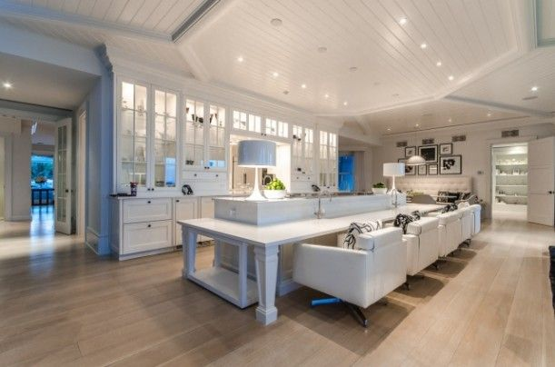 Celine Dion's house for sale Jupiter Florida (9) Kitchen. Look at the big breakfast bar chairs.