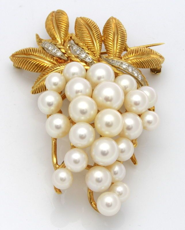 Estate 18K Yellow Gold 0.20 ctw Diamonds Cultured Pearls Brooch Pin 28.7 grams #pearl